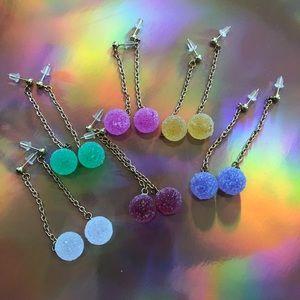 Candy Gumdrop Dangle Earrings (Gold), 1 Pair